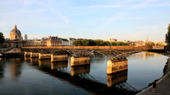 France Paris River Seine Pont des Arts sunset people building Stock Footage