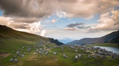 Panoramic view over the village at Prokosko lake Stock Footage