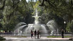 Fountain in Forsyth Park, Savannah, GA, USA Stock Footage