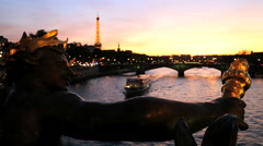 France Paris Pont Alexandre 111 bridge River Seine Eiffel tower - stock footage
