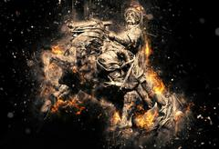 Equestrian statue of Bohdan Khmelnytsky in Kyiv. Artistic grunge fury effect - stock photo