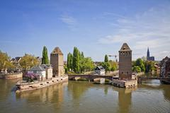 Strasbourg city, Alsace province, France. View from Barrage Vauban to medieva - stock photo