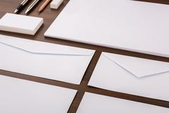 Blank Template. Consist of Business cards, letterhead a4, pen, envelopes,penc - stock photo