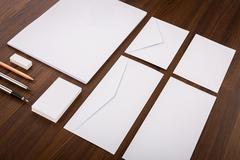 Blank Template. Consist of Business cards, letterhead a4, pen, envelopes,penc Stock Photos