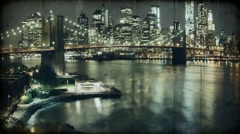 Megapolis. Brooklyn Bridge in New York. Night New York. Stock Footage