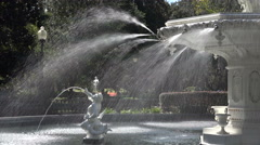 Close up of Fountain in Forsyth Park, Savannah, GA, USA Stock Footage
