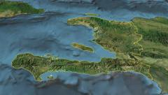 Haiti, glide over the map, outlined Stock Footage