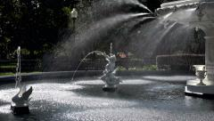 Zoom out, Fountain in Forsyth Park, Savannah, GA, USA Stock Footage