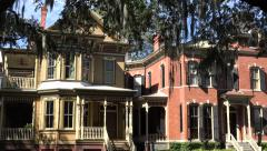 Typical houses in downtown Savannah, GA, USA Stock Footage