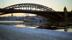Evening quay in winter, river boat Stock Footage