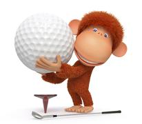 The monkey plays golf Stock Illustration