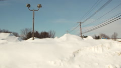 Light Post in High Snow Bank Stock Footage