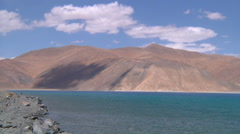 Mountains and the Pangong Lake at Ladakh in Jammu and Kashmir, India Stock Footage