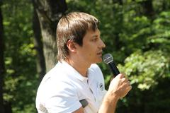 Deputy Dmitry Gudkov, speaking at a meeting of activists in Khimki forest - stock photo