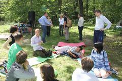 Civil society activists in Khimki forest Stock Photos