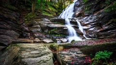 Timelapse of beautiful waterfall in mountain forest 4K Stock Footage