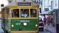 River Street streetcar, Savannah, GA, USA Stock Footage