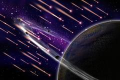 Meteor attack the asteroid illustration - stock illustration