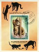 Stamp with cat - stock photo