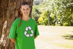 Environmental activist smiling at camera in the park Stock Photos