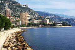 Panoramic view of Monte Carlo, Monaco. Principality of Monaco is a sovereign  - stock photo