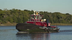 Georgia tug boat, James A Moran, Savannah river, GA, USA Stock Footage