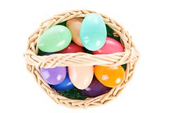 Stock Photo of Easter: Overhead View Of Easter Basket Full Of Eggs