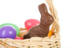 Rabbit: Chocolate Bunny In Easter Basket Stock Photos