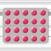 Packed colorful pills in foil on background - stock illustration