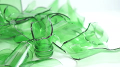 Broken Green Bottles Closeup Dolly Stock Footage