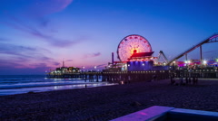 HD Night Fall On Santa Monica Pier Timelapse Stock Footage