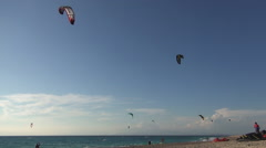 Kite Surfing, water sports, sea sport contest on Mediterranean sea shore. - stock footage
