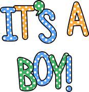 Stock Illustration of It's a Boy Celebration Text