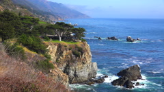 Stock Video Footage of High angle view of the rugged coastline along California Highway One.