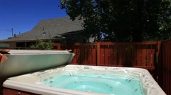 Hot tub in the backyard Stock Footage