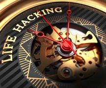 Life Hacking on Black-Golden Watch Face Stock Illustration