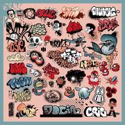 Street art graffiti elements Stock Illustration