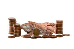 Isolated Copper Nugget and Copper Pennies Stock Photos