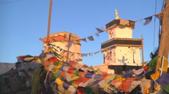 Prayer flags at the Shey Monastery in Ladakh, India Stock Footage
