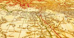 Flying Over Ancient World Map Stock Footage