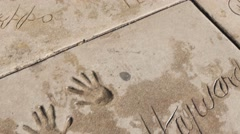 Hollywood Chinese Theater Handprints Stock Footage