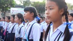 Students sing the national anthem - stock footage