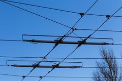 Tramway power line Stock Photos
