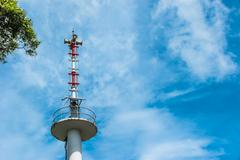 Broadcast tower on Blue sky Stock Photos