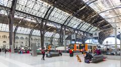 Barcelona day light train station 4k time lapse spain Stock Footage