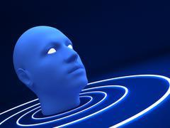 3d blue head Stock Photos