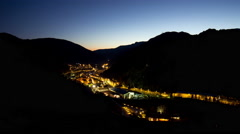 Night light mountain panorama 4k time lapse ribes de freser spain Stock Footage