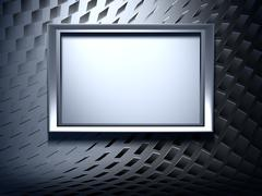 blank metal frame on abstract background - stock photo