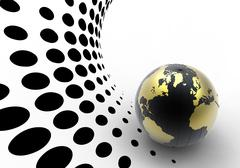 Golden globe on halftone background Stock Photos