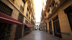 Alley in Malaga's city center Stock Footage